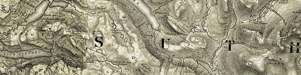 Old map of Allt Eas na Maoile in 1910
