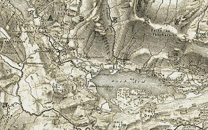 Old map of Ledard Burn in 1905-1907