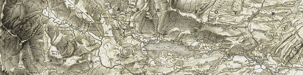 Old map of Allt Tairbh in 1905-1907
