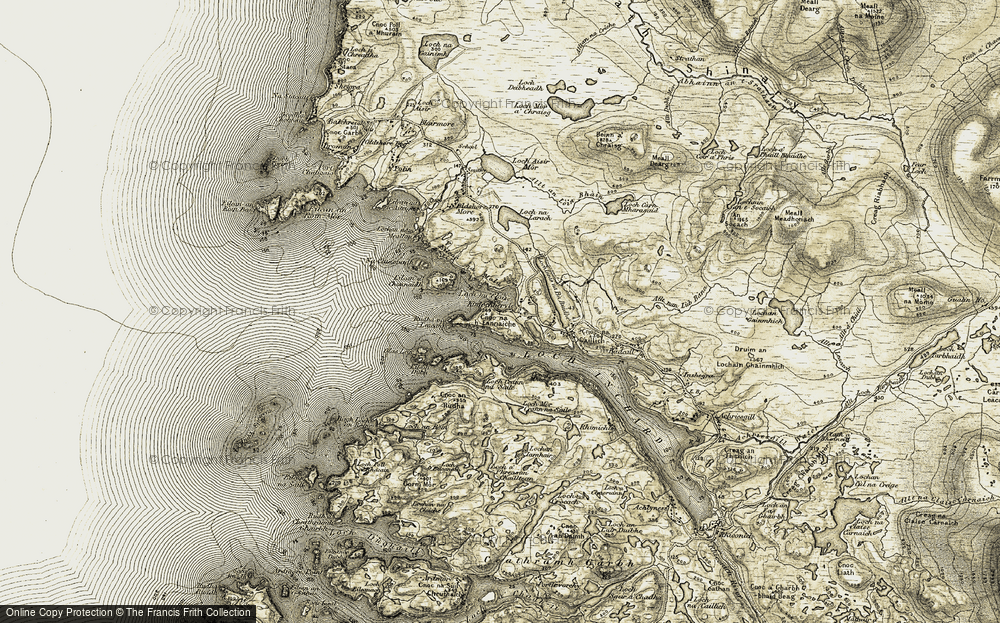 Old Map of Historic Map covering Bàgh Loch an Ròin in 1910