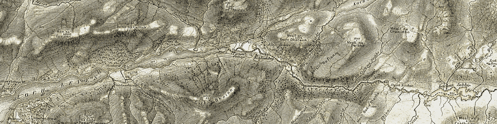 Old map of Allt Coire Mhorair in 1906-1908