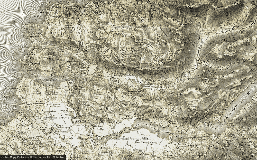 Old Map of Historic Map covering Àird Molach in 1908