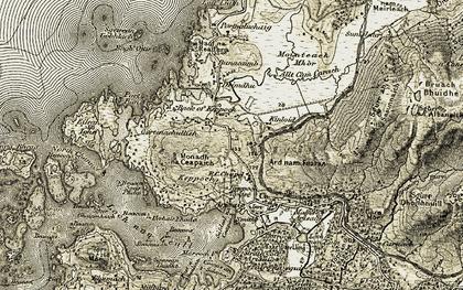 Old map of Àird nam Fuaran in 1906-1908