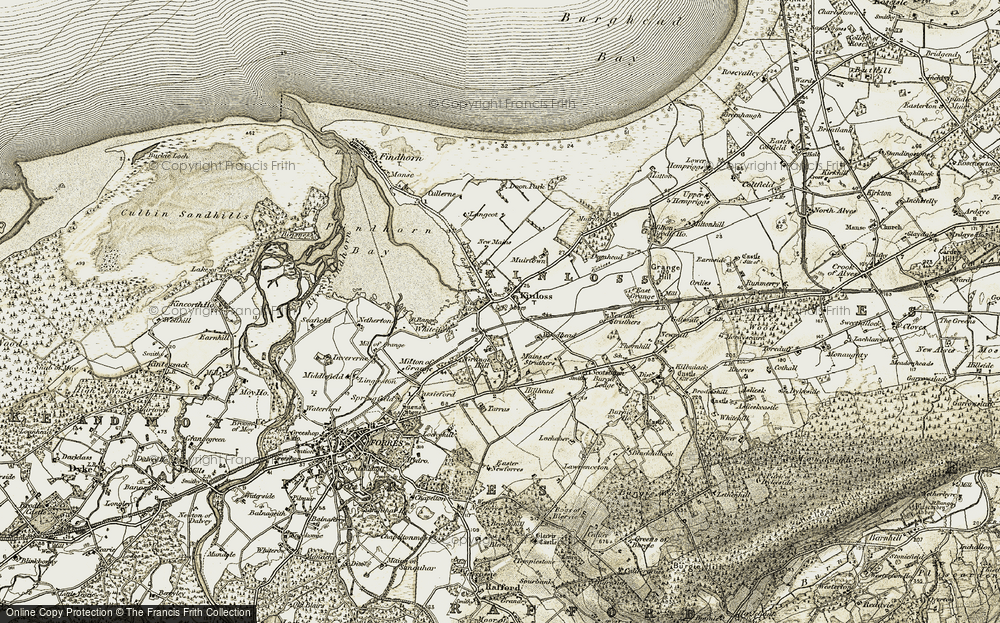 Old Map of Historic Map covering Woodhead in 1910-1911