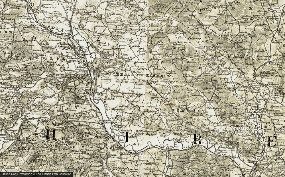 Old Map of Historic Map covering Balbithan Ho in 1909-1910