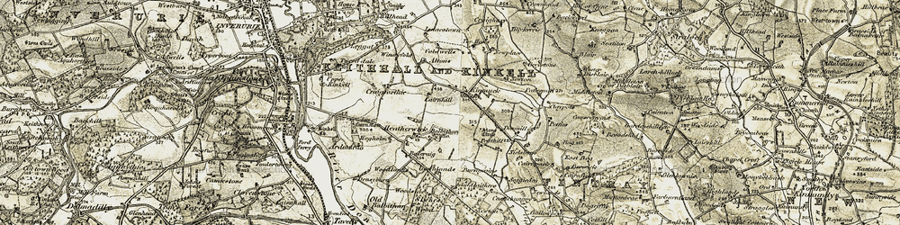 Old map of Wester Fintray in 1909-1910