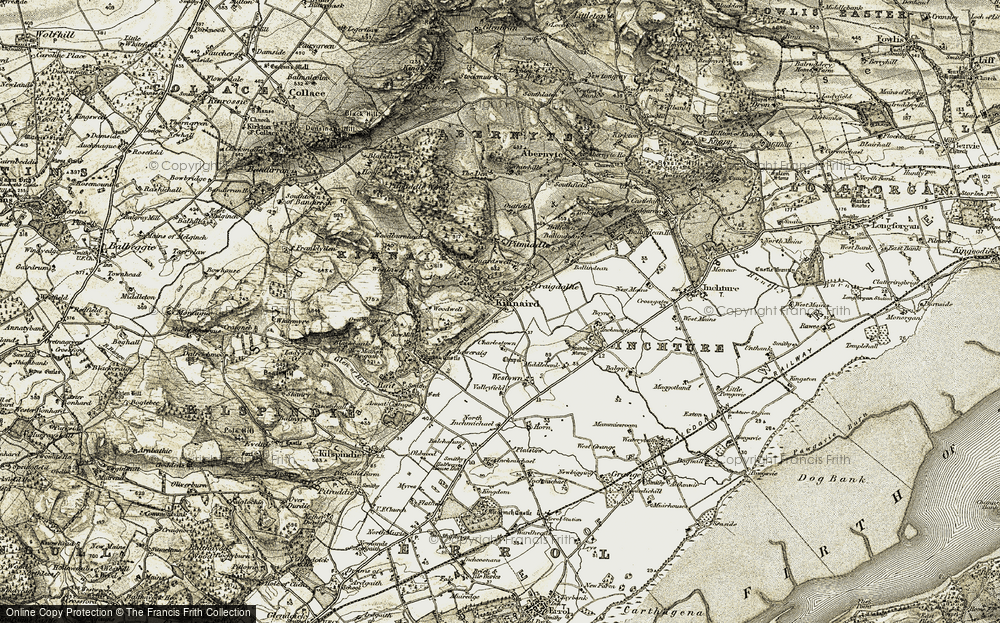 Old Map of Historic Map covering Woodburnhead in 1907-1908