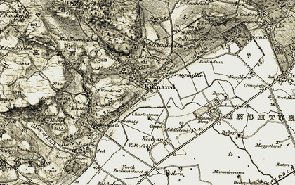 Old map of Woodwell in 1907-1908