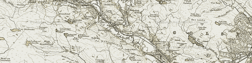 Old map of An Dròighneach in 1910-1912