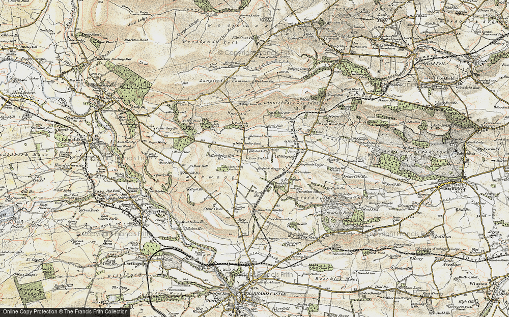 Old Map of Historic Map covering Langleydale Common in 1903-1904