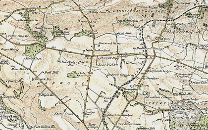 Old map of Langley Beck in 1903-1904