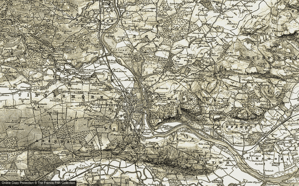 Old Map of Kinnoull, 1906-1908 in 1906-1908