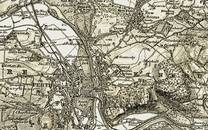 Old map of Kinnoull in 1906-1908