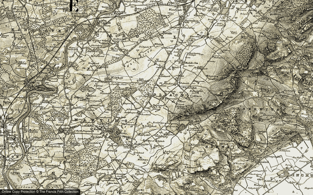 Old Map of Historic Map covering Bandirran in 1907-1908