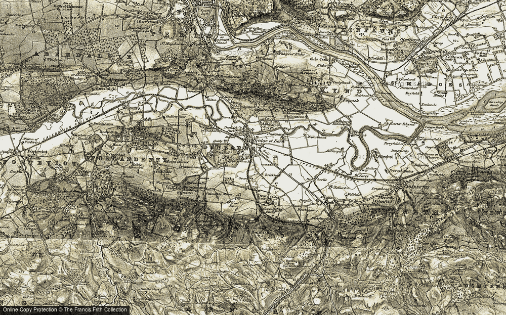 Old Map of Historic Map covering Ballendrick Ho in 1906-1908