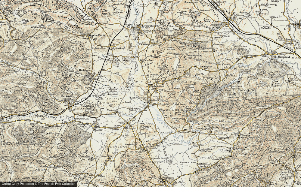 Old Map of Historic Map covering Leintwardine Manor in 1901-1903