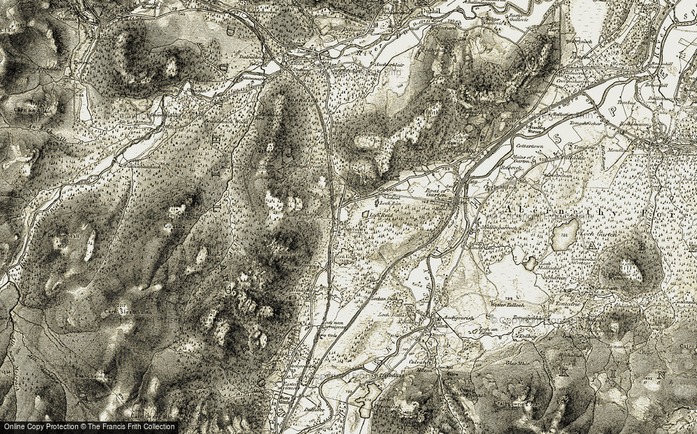 Old Map of Historic Map covering Avielochan in 1908-1911