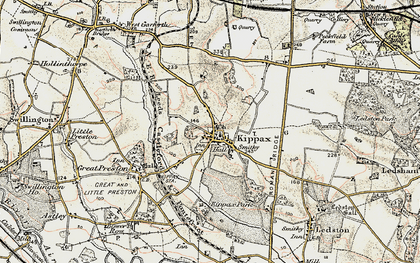 Old map of Kippax in 1903