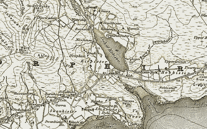 Old map of Akla in 1911-1912