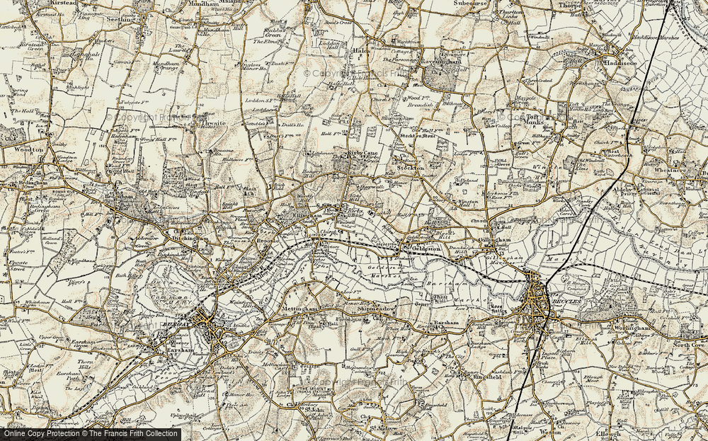 Old Map of Historic Map covering Leet Hill in 1901-1902