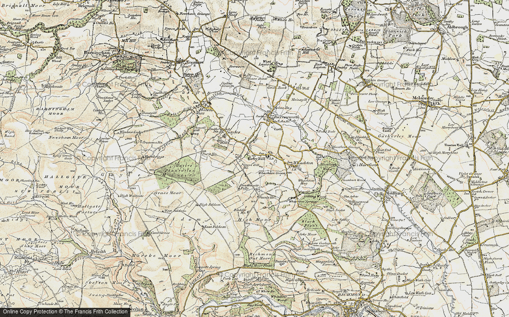 Old Map of Historic Map covering Aske Moor in 1903-1904