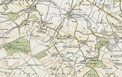 Old map of Kirby Hill in 1903-1904