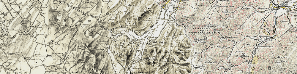 Old map of Yetholm Mains in 1901-1904