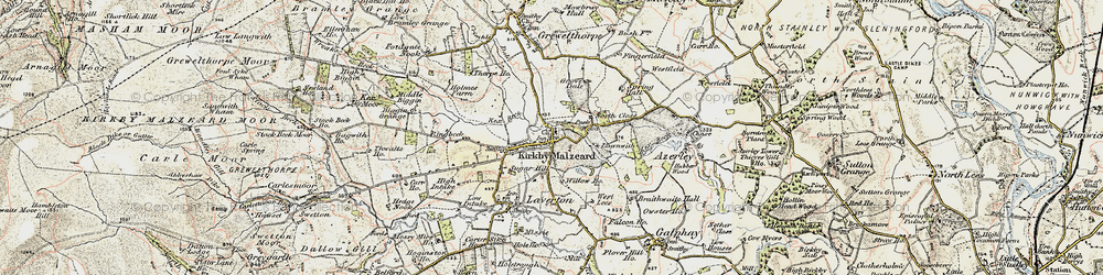 Old map of Kirkby Malzeard in 1903-1904