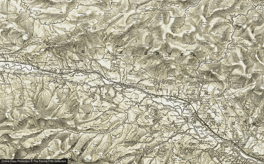 Old Map of Historic Map covering Todholes Hill in 1904-1905