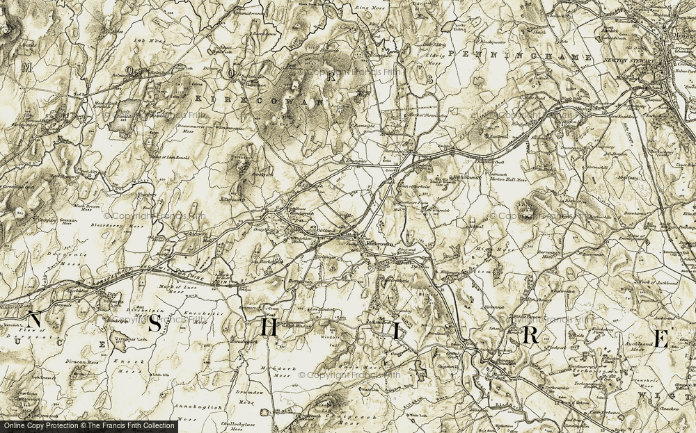 Old Map of Historic Map covering Barhoise Burn in 1905