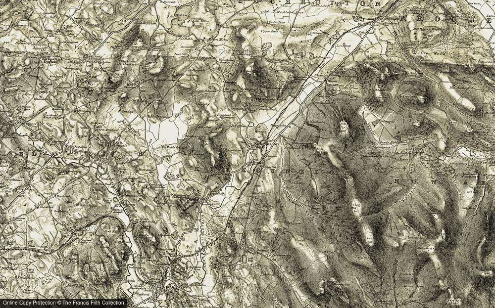 Old Map of Historic Map covering Bargrug in 1904-1905