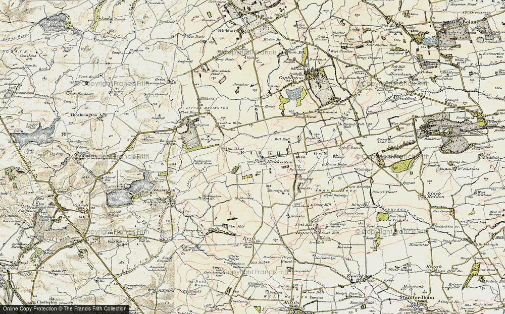 Old Map of Historic Map covering Toft Hall in 1901-1903