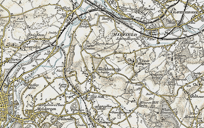 Old map of Kirkheaton in 1903