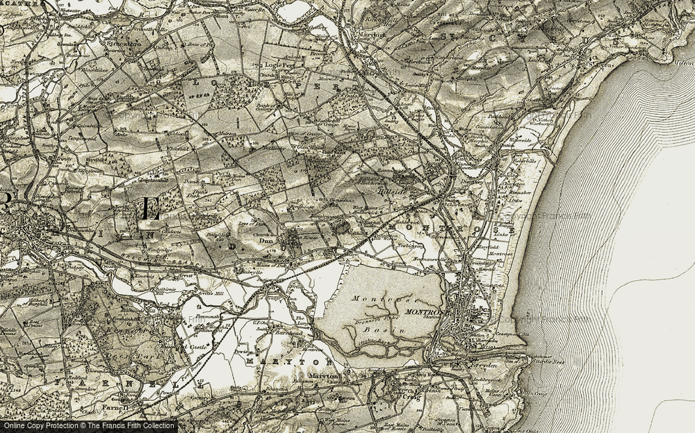 Old Map of Historic Map covering Langley Park in 1907-1908