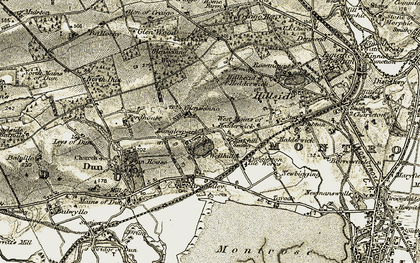 Old map of Langley Park in 1907-1908