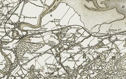 Old map of Achnagairn in 1908-1912