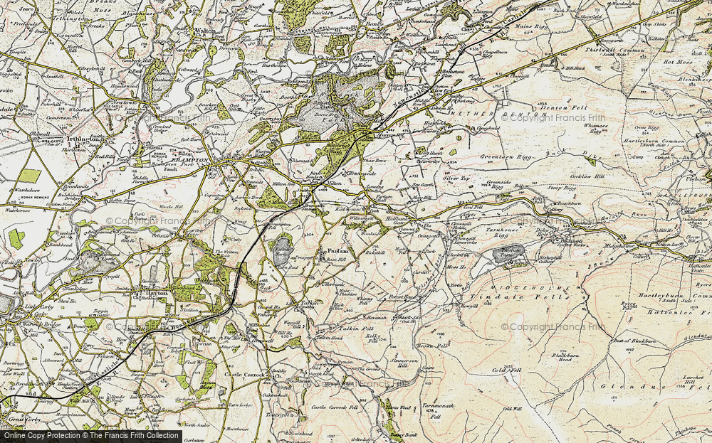Old Map of Historic Map covering Lineholme Burn in 1901-1904