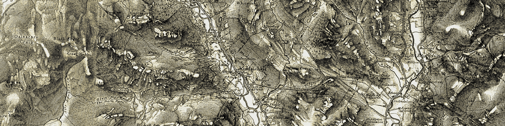 Old map of Wester Dunidea in 1907-1908