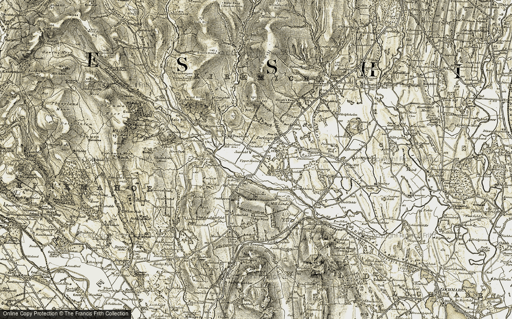 Old Map of Historic Map covering Ae Bridgend in 1901-1905