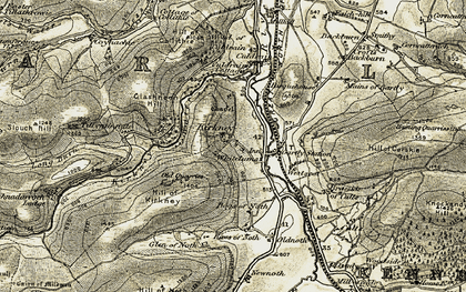 Old map of Tillyminate in 1908-1910