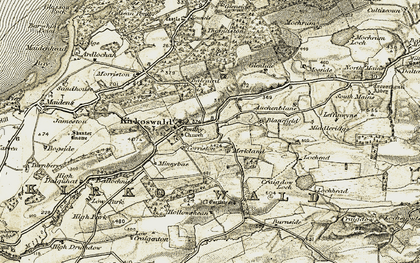 Old map of Kirkoswald in 1905