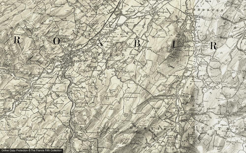Old Map of Historic Map covering Adderstonlee Moss in 1901-1904