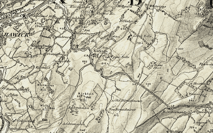 Old map of Adderstonlee Moss in 1901-1904