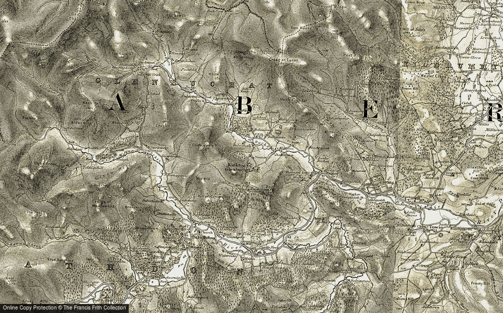 Old Map of Historic Map covering Tom na Gabhar in 1908-1910