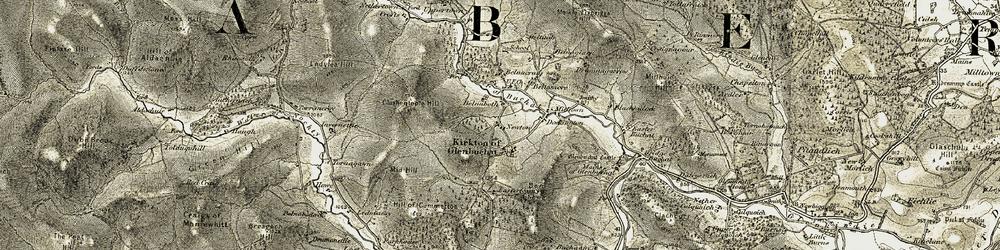 Old map of Tom na Gabhar in 1908-1910