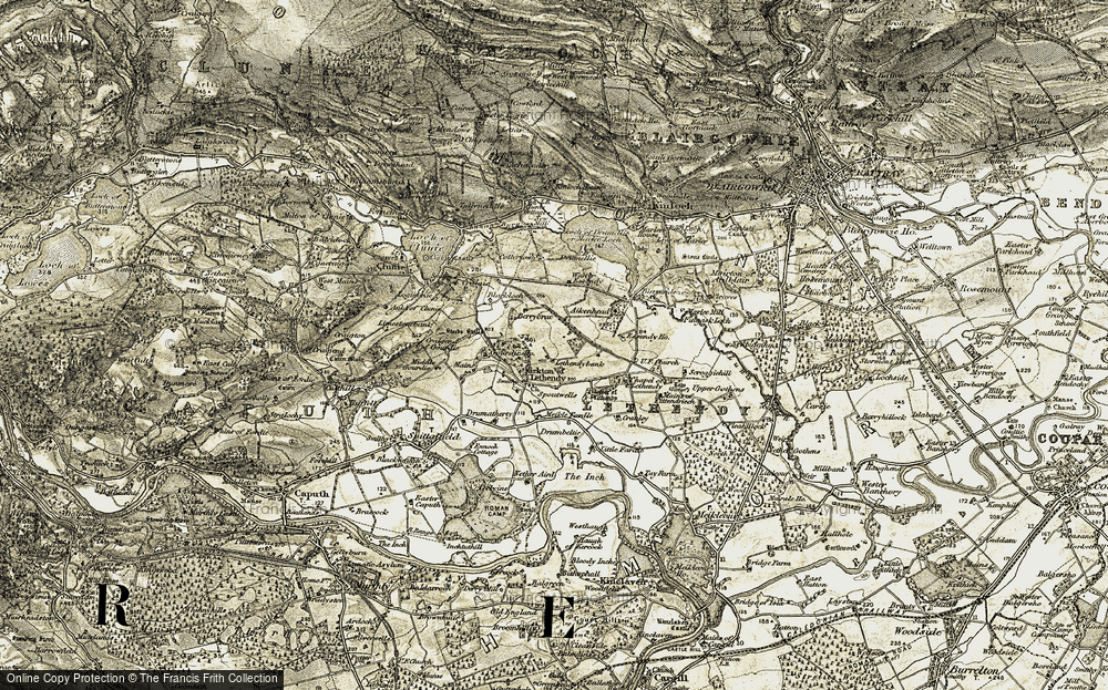 Old Map of Historic Map covering Lethendybank in 1907-1908