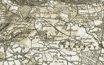 Old map of Lethendybank in 1907-1908