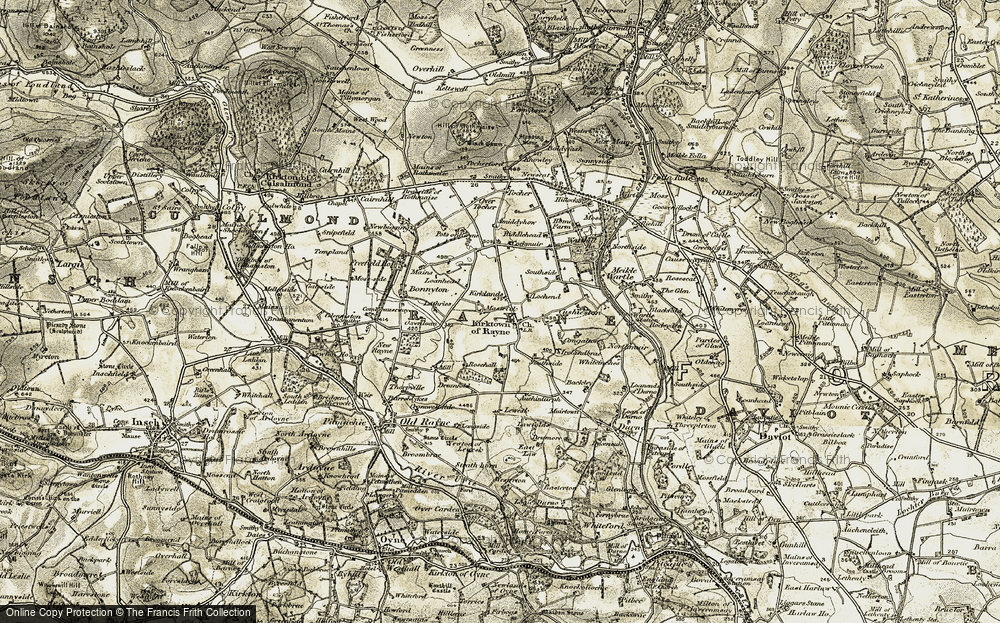 Old Map of Historic Map covering Auchentarph in 1909-1910