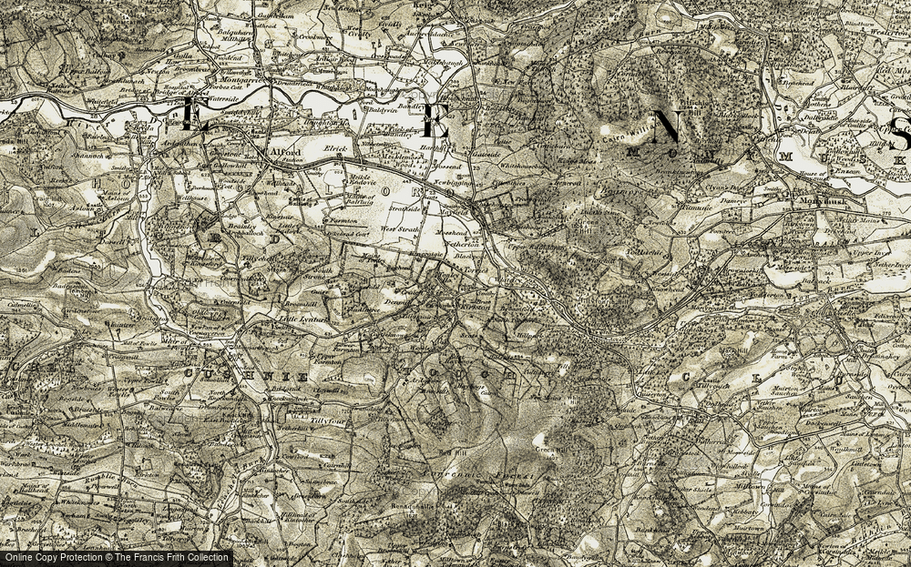 Old Map of Historic Map covering Woodhead in 1908-1909