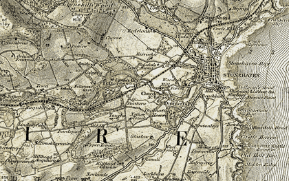 Old map of Bardspark in 1908-1909